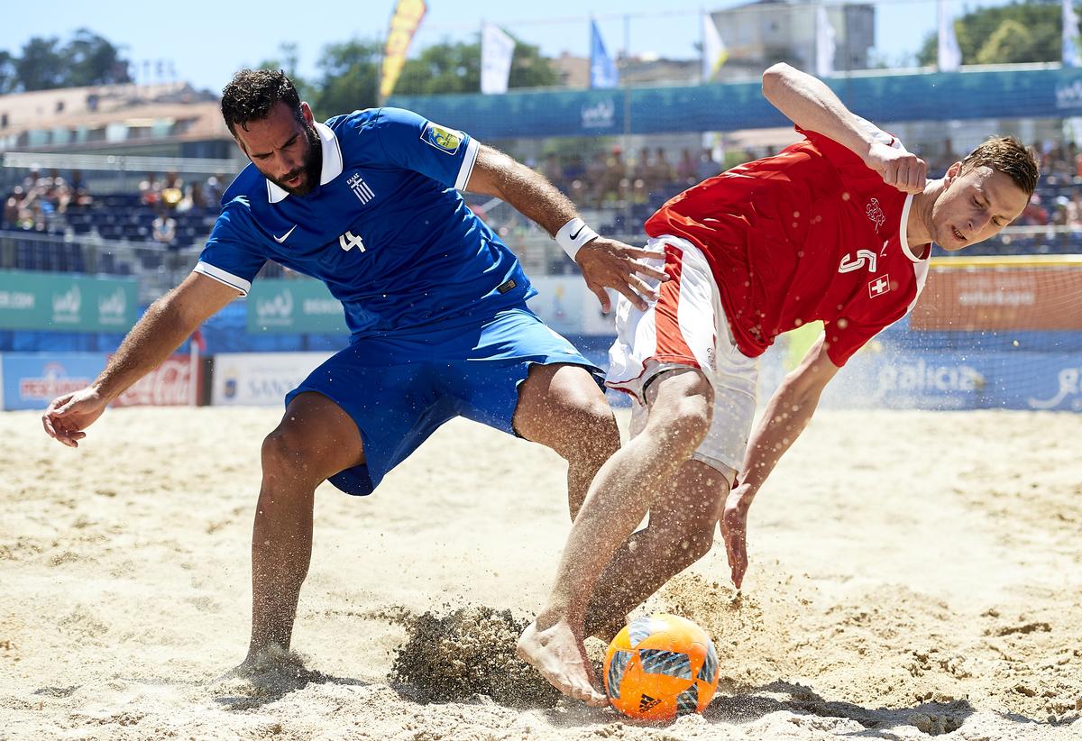SANXENXO, SPAIN - JULY 09: Euro Beach Soccer League Sanxenxo At Silgar Beach On July 09, 2016 In Sanxenxo, Spain. (Photo By Manuel Queimadelos)
