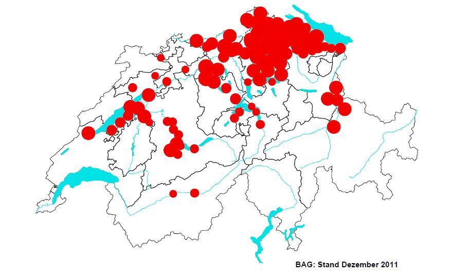Verbreitungs Gebiet Fsme Schweiz 2011
